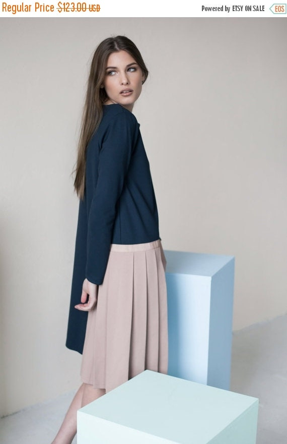 SALE - Long sleeve dress | Navy dress | Extravagant dress | LeMuse long sleeve dress