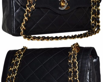 "CHANEL Paris Quilted Lambskin Leather Double Flap 8.5"" Inch Handbag With 2 Way Gold Chain Shoulder Bag"