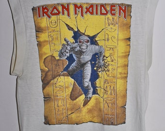 Vintage 80s 1985 IRON MAIDEN World Slavery Heavy Metal Rock Concert Tour T SHIRT