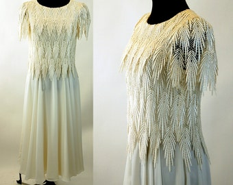 Lace dress chiffon ivory 1980s wedding dress Cachet by Bari Protas Size M