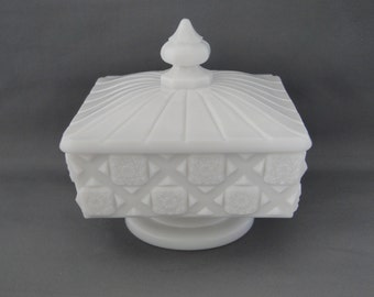 """Exquisite Milk Glass Candy Dish Made by Westmoreland  """"Old Quilt"""" Button pattern."""
