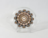 "Pyrex ""Sol Flower"" Lid #470-C for Cinderella Casserole, Brown  Black Concentric Circle Design, Small Flat Replacement Lid, Tab Handles"