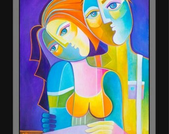 Original Cubist Painting oil on canvas Abstract Modern Artwork Just Married Marlina Vera Contemporary Art Fauve Picasso Style Lovers in Love
