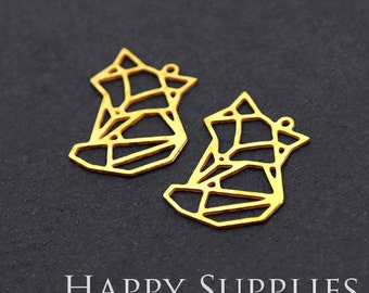 Exclusive - 8pcs Raw Brass Fox Charm / Pendant, Fit For Necklace, Earring, Brooch (RD214)