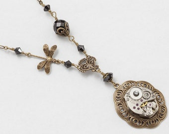Steampunk Necklace Vintage silver watch movement gears gold filigree dragonfly pendant  Black Swarovski crystal bead Statement necklace