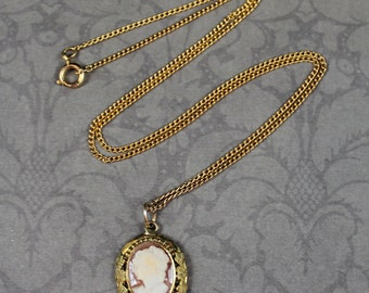 Vintage Cameo Etched Gold Floral Pendant with Gold Filled Chain Necklace