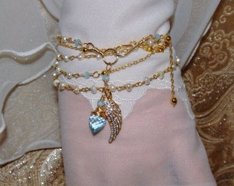 Pave angel wing charm fresh water pearl rosary chain 5 wrap bracelet or necklace Sacred Jewelry Pamelia Designs