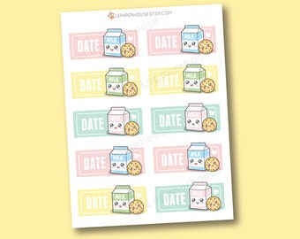 Kawaii Milk & Cookies Stickers - Date appointment box planner stickers, Erin Condren stickers, Personal Planners, cooking
