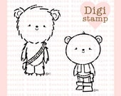 Han and Chewy Bears Digital Stamp - Star wars Stamp - Bear Digital Stamps - Bear Art - Bear Card Supply - Han and Chewy Craft Supply