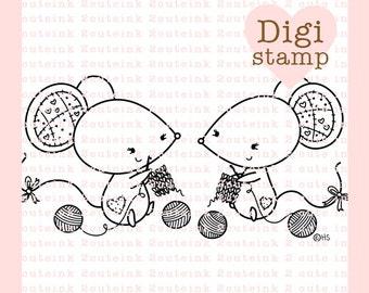 Crocheting and Knitting Mice Digital Stamp - Crochet Stamp - Digital Knitting Stamp - Mice Art - Crochet Card Supply - Knitting Craft Supply