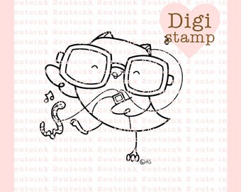 Dance To The Music Digital Stamp - Owl Stamp - Digital Owl Stamp - Owl Art - Music Card Supply - Dancing Craft Supply