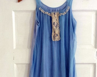 Vintage 1970s Silky Nightgown. Lace Detail. Sky Blue. Size Small.