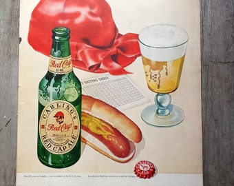 1948 Carling's Red Cap Ale Advertisement. Authentic Advertisement. Beer Ad. Hotdogs, Beer, Baseball.