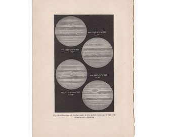 1903 PLANET JUPITER PRINT original antique celestial astronomy lithograph