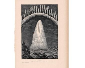 1900 NORTHERN LIGHTS LITHOGRAPH - original antique celestial astronomy ithograph aurora borealis