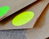 50 Fluorescent circle, Neon yellow sticker, 40mm, geometric