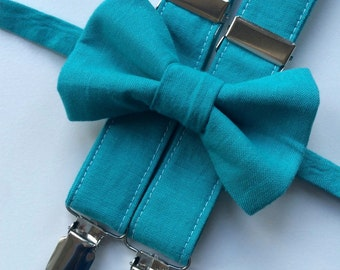Little and Big Guy Bow tie and Suspender SET - Solid Teal -(All Sizes Newborn-Adult)