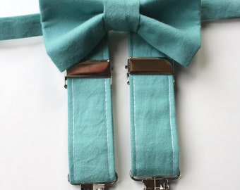 Little and Big Guy Bow tie and Suspender SET - Solid Spray Green -(Newborn-Adult)