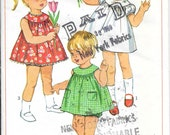 SIMPLICITY 6995 Size 1 Toddler Vintage 1960's Yoke Pocket Dress Panties Bloomers Baby Embroidery Transfer Pattern