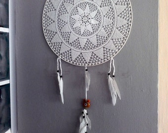 White dream catcher, Beige lace Dreamcatcher big dream catcher decor