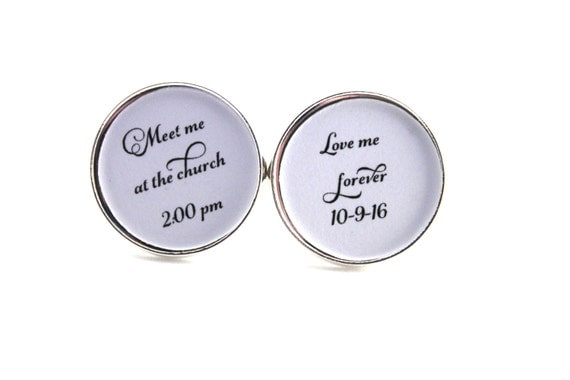 Groom Cufflinks, Wedding Cuff links, Personalized, Meet me at the Church Or Alter