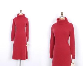 Vintage 1980s Dress / 80s Lambswool Turtleneck Sweater Dress / Raspberry Pink (M L)