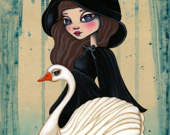 Swan Song Fairytale Original Art Giclee fine art print 8x10