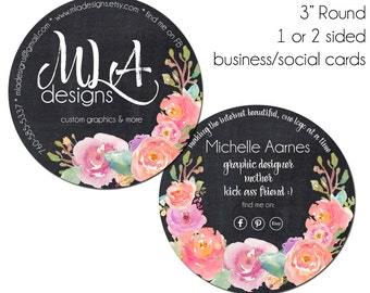 Round Business Cards, Round Social Cards, The Kammie, 3 Inch Round Business Cards, Hang Tags, Product Tags, Package Inserts, Circle Cards
