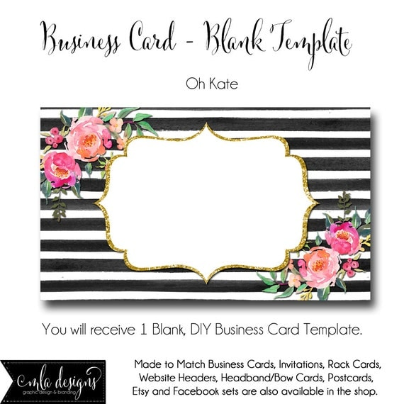 DYI Blank Business Card Template Oh Kate Made To By MLAdesigns