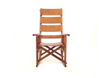 Vintage Costa Rican Rocking Chair in Leather
