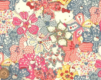 Liberty Japan Limited, Mauvey Hello Kitty, Liberty Print Cotton Scrap, Kawaii Quilting, Cute Patchwork Fabric, Liberty Tana Lawn Fabric, 30f