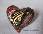 Heart Brooch Shawl Pin. Romantic Goth Gift. Handmade Valentines Day Jewelry. Red, Black and Gold Victorian Gothic Style