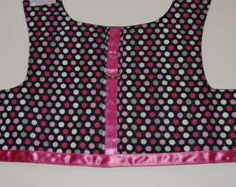 Dazzling Pink & Black Polka Dot Pet Harness for Small Dog Cat Puppy Kitten with Hot Pink Ribbon Trim