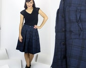 Provence Wool plaid skirt / Button down pleated & gathered skirt with pockets / Fall Winter fashion skirt
