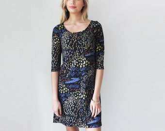 Field of Dreams Shift Dress  in Royal Blue, Pale Pink, Rust and Gold on Black
