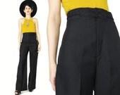1970s Black Wide Leg Pants Black High Waist Pants 70s Bell Bottoms Wide Leg Trousers Braided Trim Womens Black Dress Pants NOS NWT (XS)
