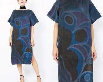 1980s Abstract Tunic Dress Artsy Abstract Print Dress Multi Color Black Blue Purple Draped Slouchy Dress Modern Pullover Short Sleeve E390