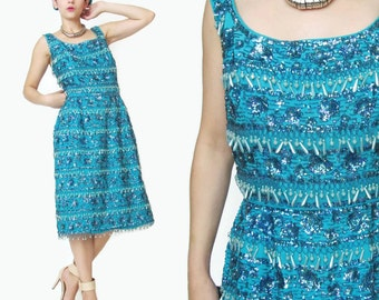 1960s Sequin Dress Turquoise Blue Party Dress Vintage 60s Beaded Dress Sleeveless Wiggle Dress Pinup Teal Fitted Fringe Tassels (M/L) E719