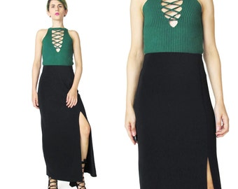 1990s Black Bodycon Maxi Skirt High Leg Slit Long Black Skirt Black High Waist Skirt Goth Minimalist Fitted Stretchy Elastic Waistband (S/M)