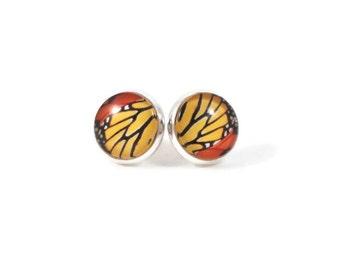 Monarch Butterfly Earring in Silver Monarch Butterfly Jewelry Butterfly Wing Jewelry for Teen Tween Jewelry Womens Earrings Orange Black Red