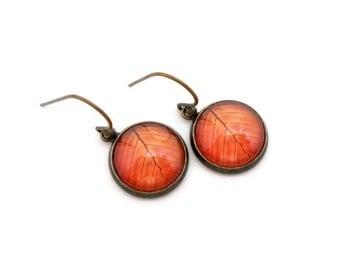 Autumn Leaves Earrings, Orange Leaf Earrings, Fall Earrings, Earthy Jewelry, Nature Jewelry, Simple Lightweight Earrings, Dangle Earrings