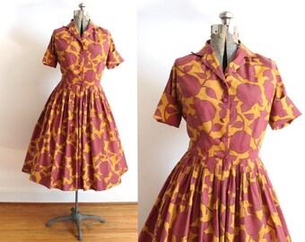 50s Dress / 1950s  Full Skirt Autumn Leaf Dress