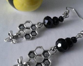 Bumblebee Earrings,Black Crystal Bee Earrings