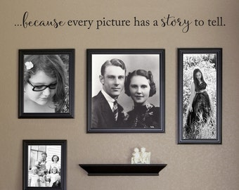 Because every picture has a story to tell Wall Decal - Photo Wall Decal - Picture Frame Wall Accessory