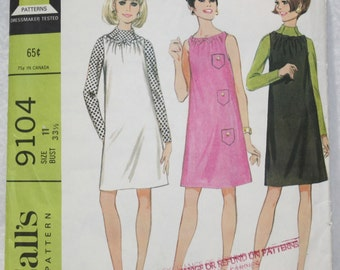 """60's  VintageMcCall's Sewing Pattern9104 Dress or Jumper  and Blouse with Funnel Neck  Size 11  Jr Teen Bust 33.5"""", Waist 24.5"""""""