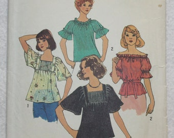 """Sz 16-18 Vintage 70s Simplicity  Sewing Pattern 7444  Hippie Peasant Blouse  with Pin Tucks or Gathered Neck and Sleeves bust 38""""-40"""""""