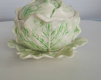 3 Piece Cabbage Ceramic Bowl with Lid