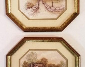 Fleck Bros Wood Framed Pictures Prints RARE VINTAGE Art Set