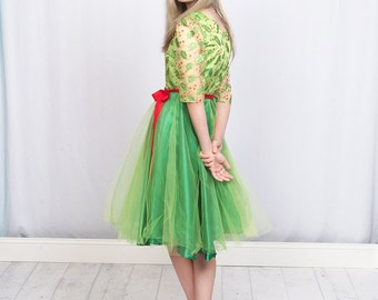 Christmas Holly Berry Holiday Dress – Green and Red Holly Berry Christmas dress for teen and Women's Holiday party outfit