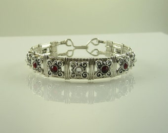 WSB-1045 Handmade Silver Crystal Bead and .925 Sterling Silver Wire Wrapped Bangle Bracelet, July Birthstone